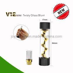 E Cig Portable Dry vaporizador de ervas V12 Mini sinuosa contuso de vidro para secar a erva, OEM/congratulou ODM