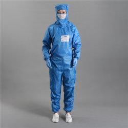 Vestiti antistatici della tuta degli indumenti del locale senza polvere blu con il cappuccio