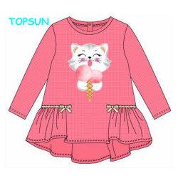 La primavera y otoño para NIÑOS Camiseta manga larga de algodón puro niños Tops bebé niñas impresa faldas sueltas