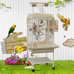 Bearbeitetes Eisen-auserwähltes Walzen-große Spiel-Vogel-Standplatz-Rahmen für afrikanisches Grau-Papageien