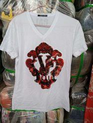 使用された衣服の中国の工場無地の習慣によって印刷される男女兼用の綿のTシャツのティーワイシャツ