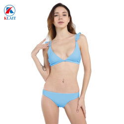 Custom High Quality Blue Juniors Girl Triangle Small Bikini Top Zwemkleding