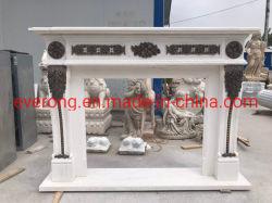 Camino elettrico bianco della mensola del camino del marmo del camino con lanciare Bronze delle statue