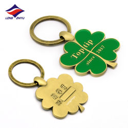 Longzhiyu 13 Jaar China Leverancier Professional Customized Metal Emaille Key Chains Four Leaf Clover Key Chain