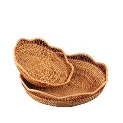 Rattonの柳細工の杖の円形の丈夫なバスケット