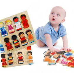 لعبة خشبية الأطفال التعليمية الناس العنصرية المعرفية تمنع الأحجية