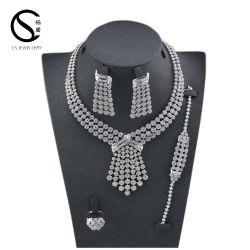 E-7295 CS ródio brincos e colares jóias, Sade Zircon Casamento Diamond jóias de Cristal Definido