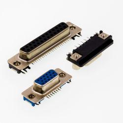 D-SUB para conector macho PCB de fileira dupla tipo reta estampada/pino usinado sem bloquear 9p/15p/25p/37P D-SUB-24