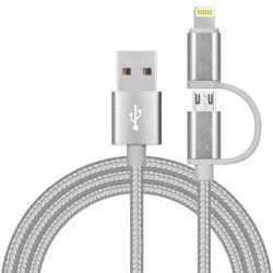 2 в 1 экранирующая оплетка кабеля USB для iPhone и Android