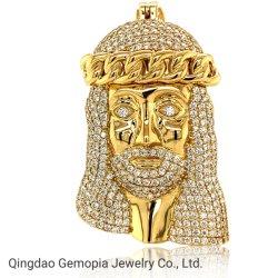925 Silver 14K Solid Gold Hip Hop Fashion grand charme arrière fermé hommes Bijoux en argent