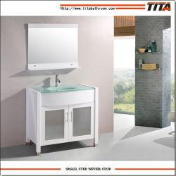 Espanhola moderna de vidro temperado de madeira maciça RV pia do banheiro armário de toucador