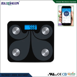 Wholesales fábrica de cristal templado de alta escala de Bluetooth de electrónica de la Plataforma de Grasa Corporal Escala con pantalla LCD de gran tamaño de pantalla de la retroiluminación azul