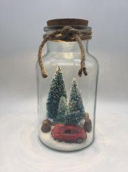 Parte Supplises gran frasco de vidrio con árbol de Chirstmas Coche Microlandschaft Metal llevado a la luz de corcho para la Navidad de la decoración del hogar
