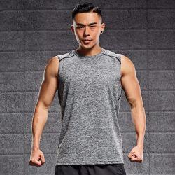 Безворсовая ткань из микроволокна Dry-Fit спортзал мужчин и футболки без рукавов с логотип