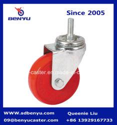 가구를 위한 볼트 구멍을%s 가진 빨간 PU 피마자 바퀴
