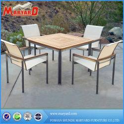 Haupthotel-Gaststätte handgemachte PET Rattan-Flechtweide gesponnener Garten-Terrasse-im Freien speisender Möbel-Aluminiumteakholz-Tisch und Stühle