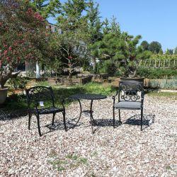 Mobiliário de exterior Seaside Diferença Conjunto Bistro mesa e cadeiras sem almofadas pneumáticas