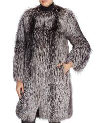 Las mujeres de alta calidad Leather-Trim Faux Fox abrigos de piel Wholesale