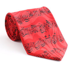 Nach Maß fantastische rote Partei-Musik-Symbol-gedruckte Silk Halsbekleidung