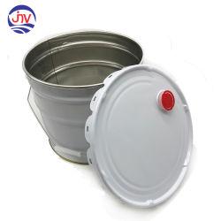 20 l/5 galones cubos de metal balde con tapa de plástico tipo mariposa