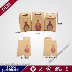結婚式の誕生会のクリスマスのためのハンドルの軽食のクッキーチョコレートギフト袋が付いているクラフト紙キャンデーボックスはパッケージを支持する