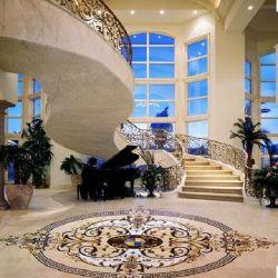 Hotel Ronda do átrio em mármore branco medalhão de Pedra Natural de ladrilhos em mosaico