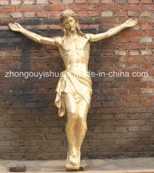 Buona statua del bronzo della croce del Jesus della decorazione della chiesa della scultura di qualità del pezzo fuso