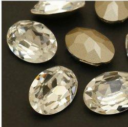 楕円形の豪華な水晶はStrassのダイヤモンドのビードに投石する