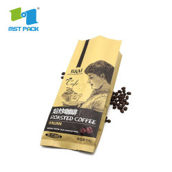 Imprimé personnalisé le luxe d'aluminium Bean Café torréfié Emballage sac ziplock à fond plat
