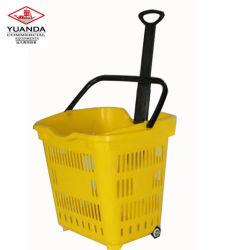 Kunststoff-Warenkorb mit 4 Rädern, Supermarkt-Warenkorb