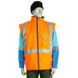 Schwere Oxford-Winter Bodywarmer hohe Sicht aufgefüllte Kleidung mit reflektierendem Band