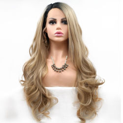 Cubierta de encaje peluca de fibra química de la calidad de la seda de alta temperatura mujer pelucas