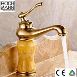 [س] [سبر] تقليديّة تصميم غرفة حمّام حوض خلّاط نوع ذهب مع رخام