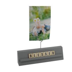 Escritorio de madera pinza de sujeción de la imagen de la tarjeta de decoración