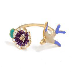 Esmalte de la moda Animal Estilo de la apertura de anillo de cobre para la venta caliente Joyas
