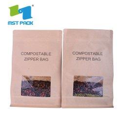 Custom напечатано встать чехол Zip-Lock биоразлагаемых крафт-бумаги или подушки безопасности продуктов питания
