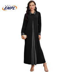 Vêtements islamique musulmane occasionnel Abaya dernières conceptions Poly crêpe noir et gris Bouton avant ouverte jusqu'ABAYA DUBAI moderne