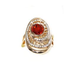Color oro Bisutería Anillo con piedras de cristal Granate