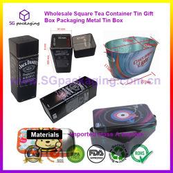 El té de la plaza mayorista contenedor metálico de embalaje Caja de regalo de Tin Tin Box