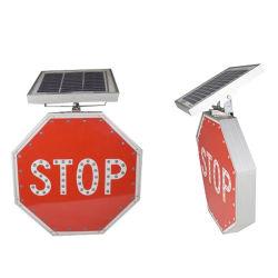 Segnale stradale d'avvertimento di arresto Octagonal di energia solare LED per sicurezza stradale