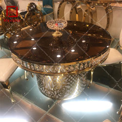 6 places de meubles en acier inoxydable doré de mariage avec Crystal Table à manger de mariage