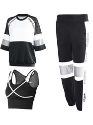 Les femmes 3-pièces T Shirt Quick Dry Salle de Gym Fitness vêtements soutien-gorge d'exécuter Active de la formation Sports wear veste