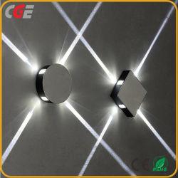 مصباح الحائط، غطاء أبيض أسود، غطاء معدني، 4 اتجاهات، ديكور مربع مصباح LED الموجود بالحائط العلوي السفلي LED 12 واط حائط إسكونسي