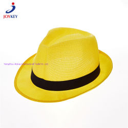 Maille jaune Fashion Hat, maille polyester Hat, moins cher Hat