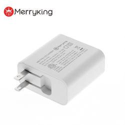 Bouchon de couleur blanche nous pliant 5V 3A 9V 3A 15V 3A 20V 45W 2,25 Un chargeur rapide de voyage USB pour ordinateur portable PD