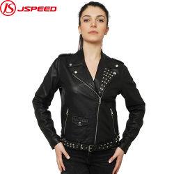 Venda por grosso revestimento exterior mulheres Biker Casaco de couro