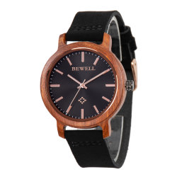 Bewell新しいデザイン本革タケ本当木腕時計