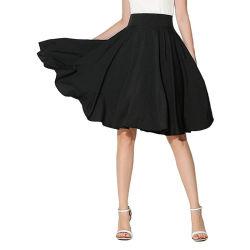 Senhoras cor sólida saias de pregas casual de moda de Verão