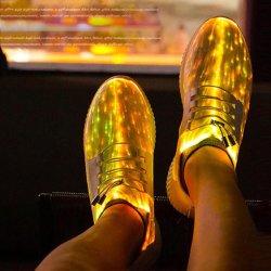 Fibra óptica de moda LED luminoso colorido sapatos de carga USB