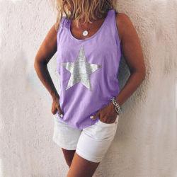 فصل صيف نساء [تنك توب] سببيّ [سليفلسّ] [ت] قميص كبير حجم صدرة سيّدة [غرمنت]